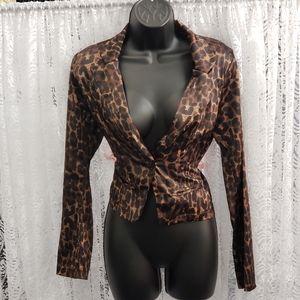 Satin Leopard Print Blazer